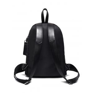 Snap Closure Nylon Colour Block Backpack -