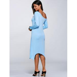 Skew Neck Asymmetrical Dress - LIGHT BLUE 3XL