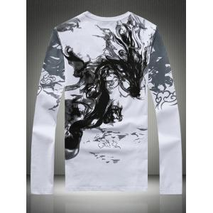 Plus Size Dragon Calligraphy Print V-Neck Long Sleeve T-Shirt -