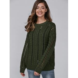 Long Sleeve Hollow Out Crew Neck Sweater -