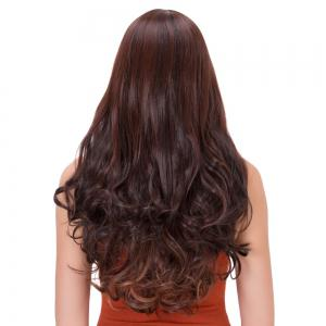 Palm Red Gradient Long Side Bang Wavy Impressive Synthetic Wig -