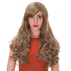 Flax Highlights Long Side Bang Wavy Impressive Synthetic Wig - COLORMIX
