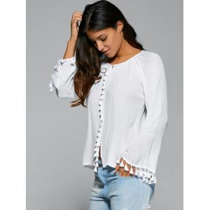 Long Flare Sleeve Tassel Cuff Blouse -