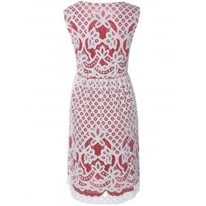 Flower Embroidered Sleeveless Lace Dress -