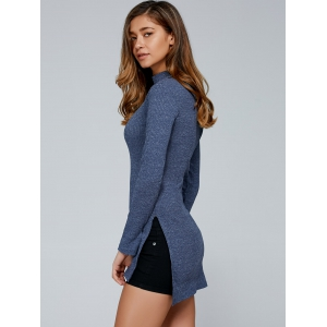 Fitted Slit Mock Neck Pullover Sweater - GRAY L