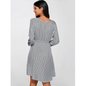 Buttoned Drawstring Striped Dress -
