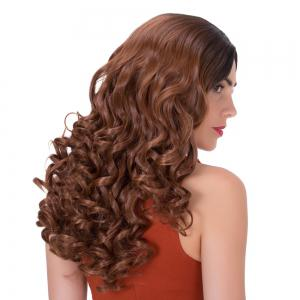 Brown Gradients Long Side Parting Wavy Synthetic Wig -