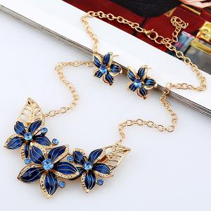 Rhinestone Flower Necklace and Earrings - BLUE