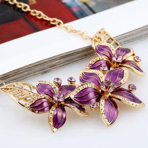 Rhinestone Flower Necklace and Earrings - PURPLE