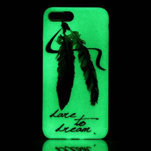Feather Night Luminous TPU Phone Back Case For iPhone 7 Plus -