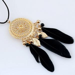 Feather Leaf Tassel Round Necklace - GOLDEN