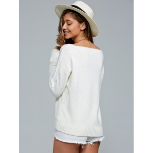 V-Neck Cable Knit Pullover Sweater -
