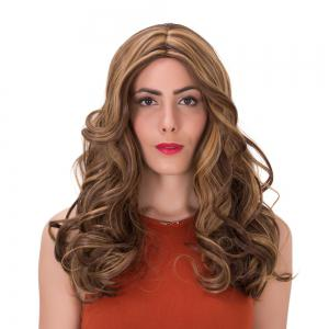 Double Color Long Centre Parting Wavy Synthetic Wig - COLORMIX