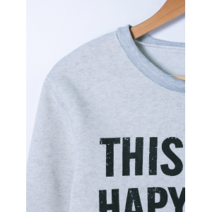 Graphic Printed Pullover Sweatshirt - GRAY S