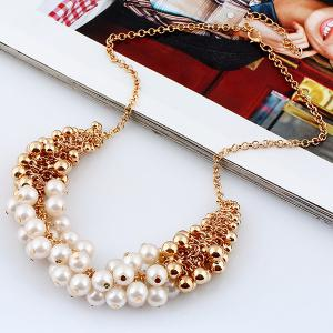 Faux Pearl Beaded Necklace -