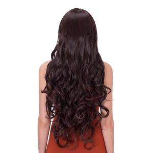 Long Inclined Bang Wavy Impressive Synthetic Wig -