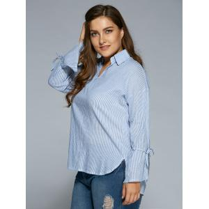 High Low Striped Plus Size Tunic Shirt -
