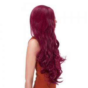 Long Centre Parting Wavy Synthetic Wig - PURPLISH RED