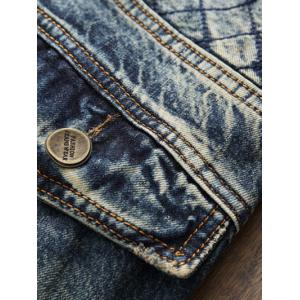 Stitching Rhombus Paneled Zipper Fly Jeans - BLUE 38