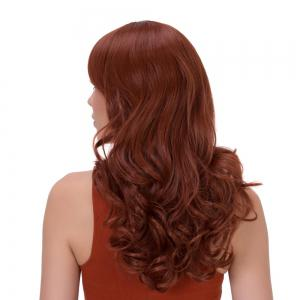 Prevailing Long Side Bang Curly Synthetic Wig - DARK AUBURN
