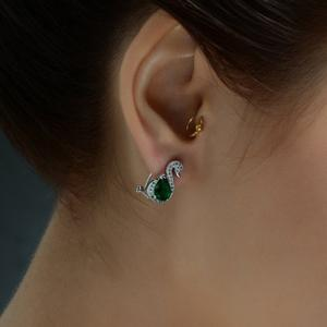 Pair of Rhinestone Swan Earrings -