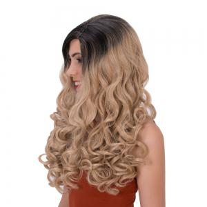 Ombre Color Long Side Parting Wavy Shaggy Synthetic Wig -