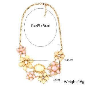 Fake Gem Flower Statement Necklace - PINK