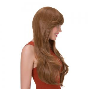 Long Side Bang Layered Tail Adduction Stunning Synthetic Wig - GOLD BROWN