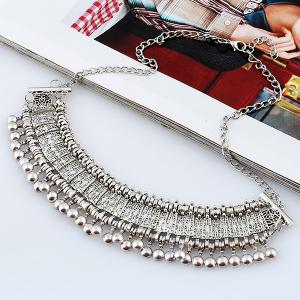 Alloy Engraved Geometric Beaded Necklace -