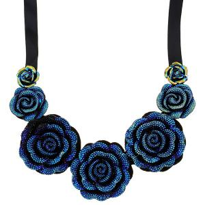 Rose Pendant Costume Necklace - BLUE