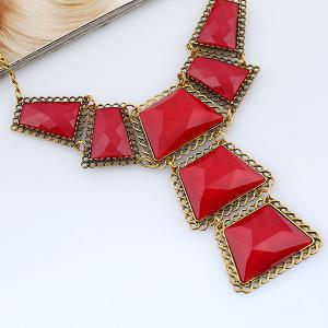 Vintage Geometric Resin Necklace - RED