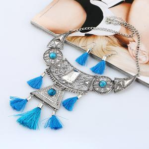 Geometric Tassel Floral Necklace and Earrings - BLUE