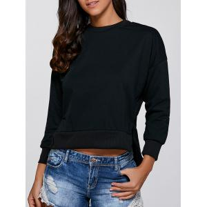 Long Sleeve Lace-Up High Low Pullover Sweatshirt -