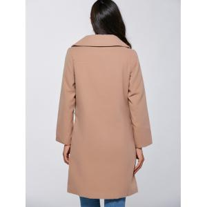 Double Breasted Faux Pocket Coat - CAMEL M