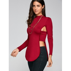 Long Sleeve Cut Out Backless T-Shirt -