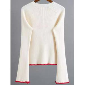 Flare Sleeve Stretchy Color Block Knitwear -