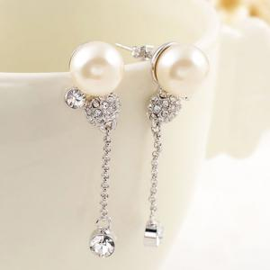 Pair of Faux Pearl Rhinestone Shiny Earrings - SILVER
