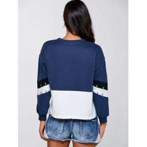 Crew Neck Color Block Sweatshirt - DEEP BLUE ONE SIZE