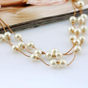 Faux Pearl Bridal Necklace Earrings and Bracelet - WHITE