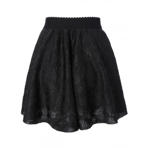 High Waisted Jacquard Flare Skirt -