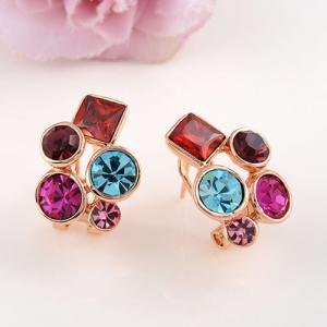 Pair of Colorful Rhinestone Stud Earrings -