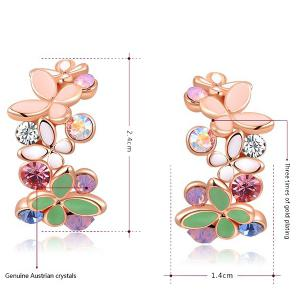 Pair of Rhinestone Butterfly Earrings -
