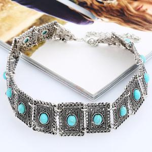 Faux Turquoise Geometric Choker Necklace - SILVER