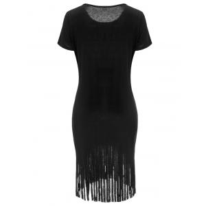 Fringed Bad To The Feed Graphic Dress -