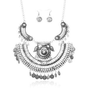 Alloy Engraved Coin Piggy Jewelry Set - SILVER