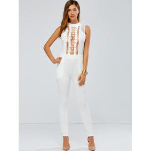Lace Up Skinny Leg Jumpsuit - WHITE XL