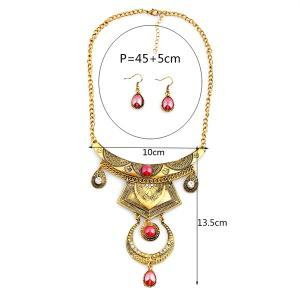 Faux Gem Engraved Moon Jewelry Set - GOLD AND RED