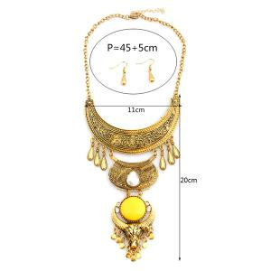 Bijoux en alliage Lune Water Drop Set - Jaune