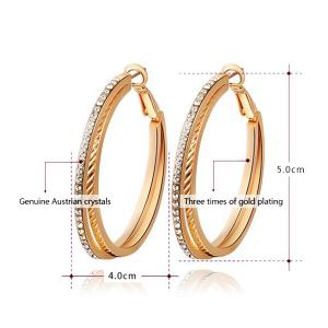 Pair of Rhinestones Layered Hoop Earrings - GOLDEN