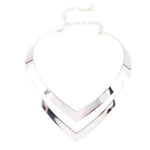 V Shaped Alloy Necklace - SILVER